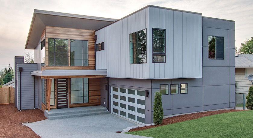 moderno plano de casa de dos pisos con garaje | arquitectura