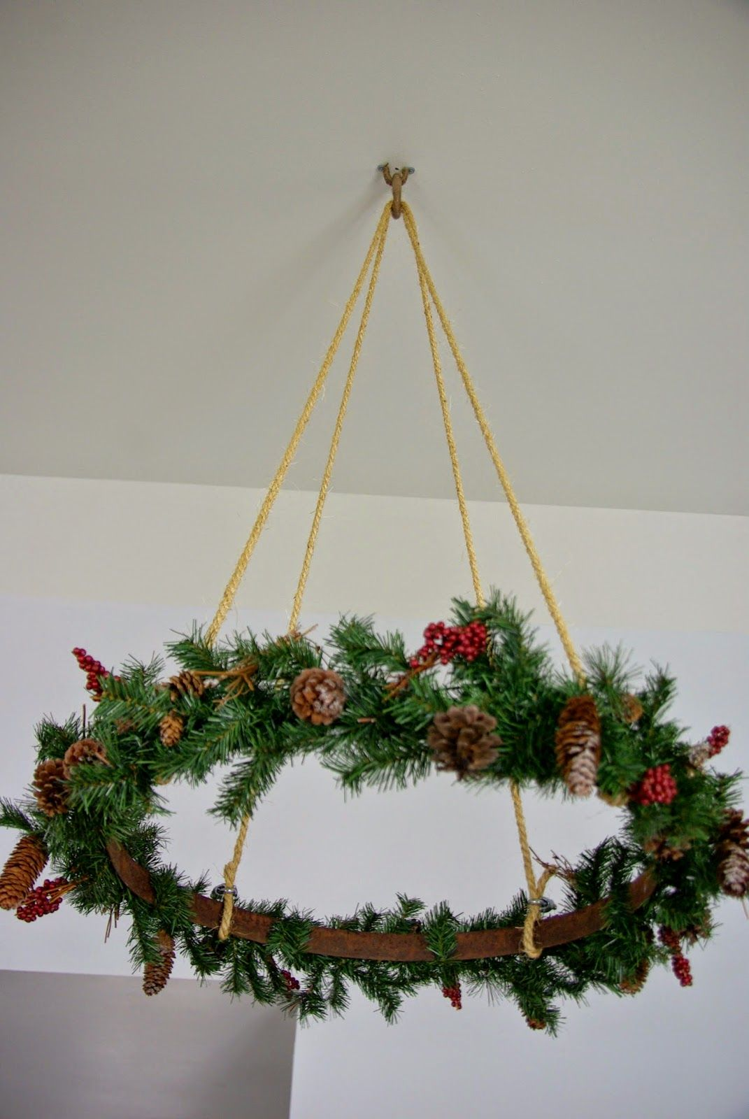 Hanging Christmas Decorations To Make.Our House Now A Home Celing Hanging Christmas Wreath