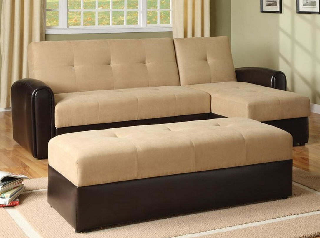 Convertible Sectional Sofas Two Tone Brown Fabric