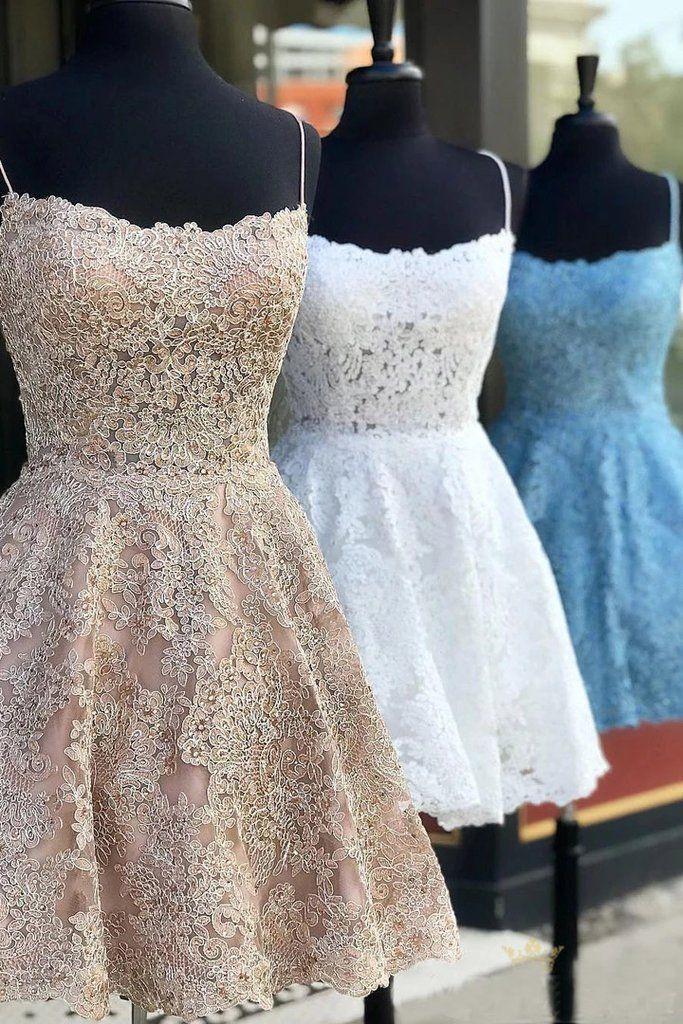 A Line Spaghetti Straps Backless Lace Short Homecoming Dresses, Formal Short Prom Dresses – Simibridaldress