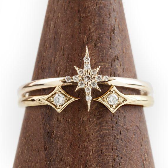 Starburst cluster diamonds ring set in solid 14k gold, rose gold, white gold pave diamond star stacking ring set, dainty statement ring #diamondrings
