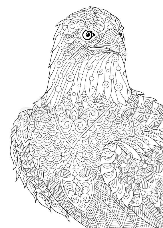 Stock vector of 'Zentangle stylized cartoon eagle of
