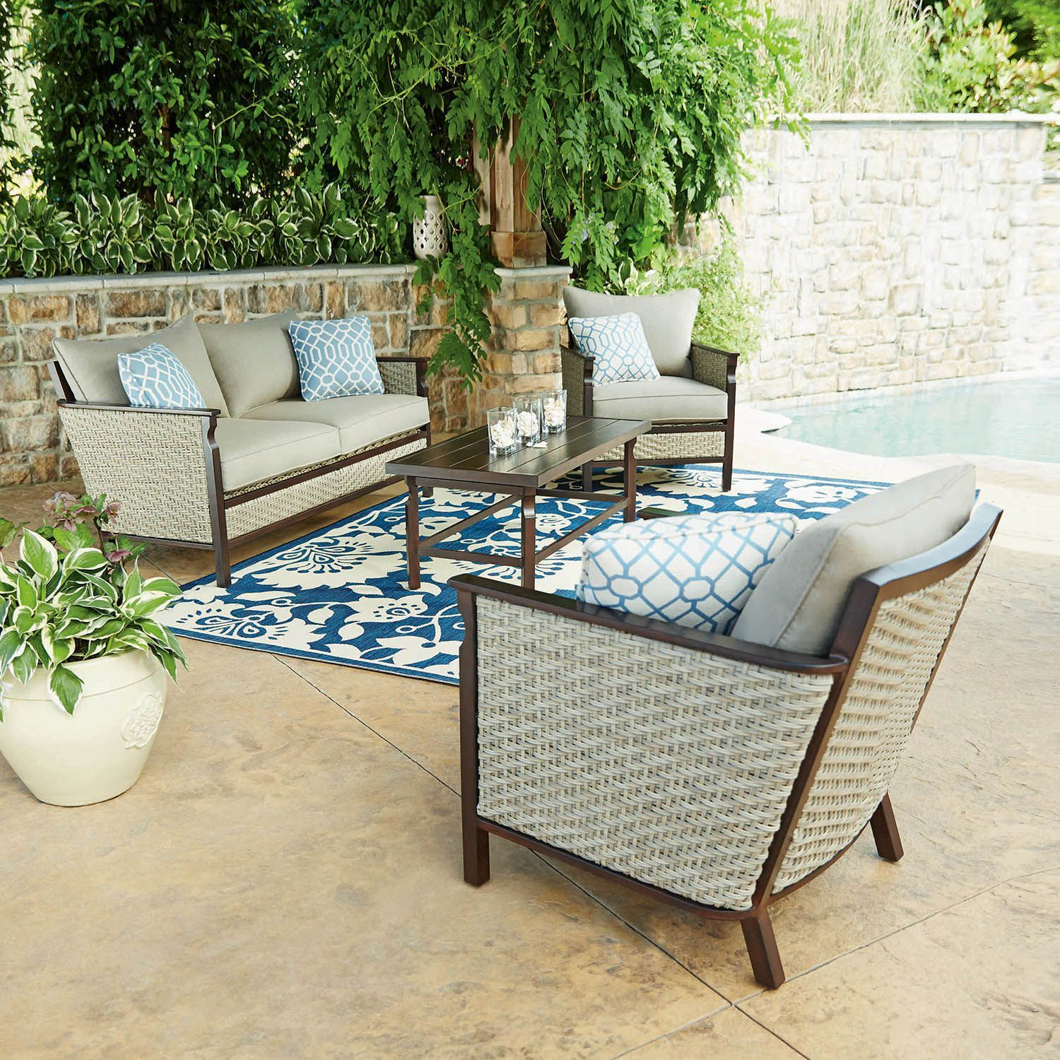 Buy Memberu0027s Mark Cole 4 Piece Seating Set : Patio Furniture With Sunbrella  At SamsClub