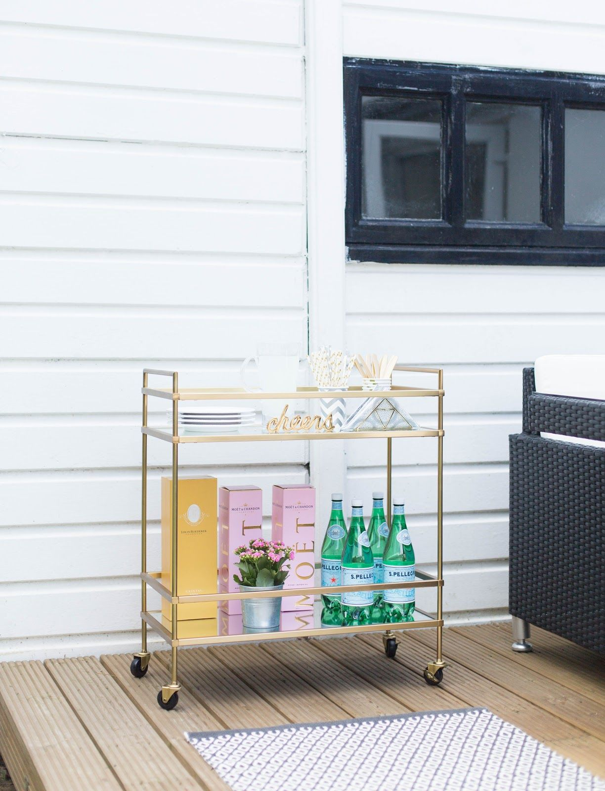 West Elm Terrace Bar Cart Brass bar cart drinks trolley gold bar