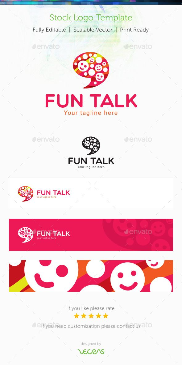 Fun Talk Stock Logo Template  Logo Templates Template And Logos
