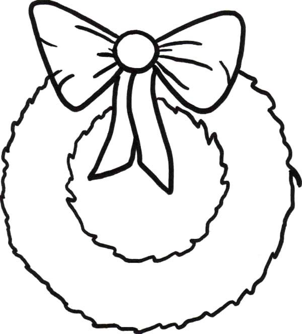 Simple Christmas Wreaths with Ribbon Coloring Pages  Coloring Sun