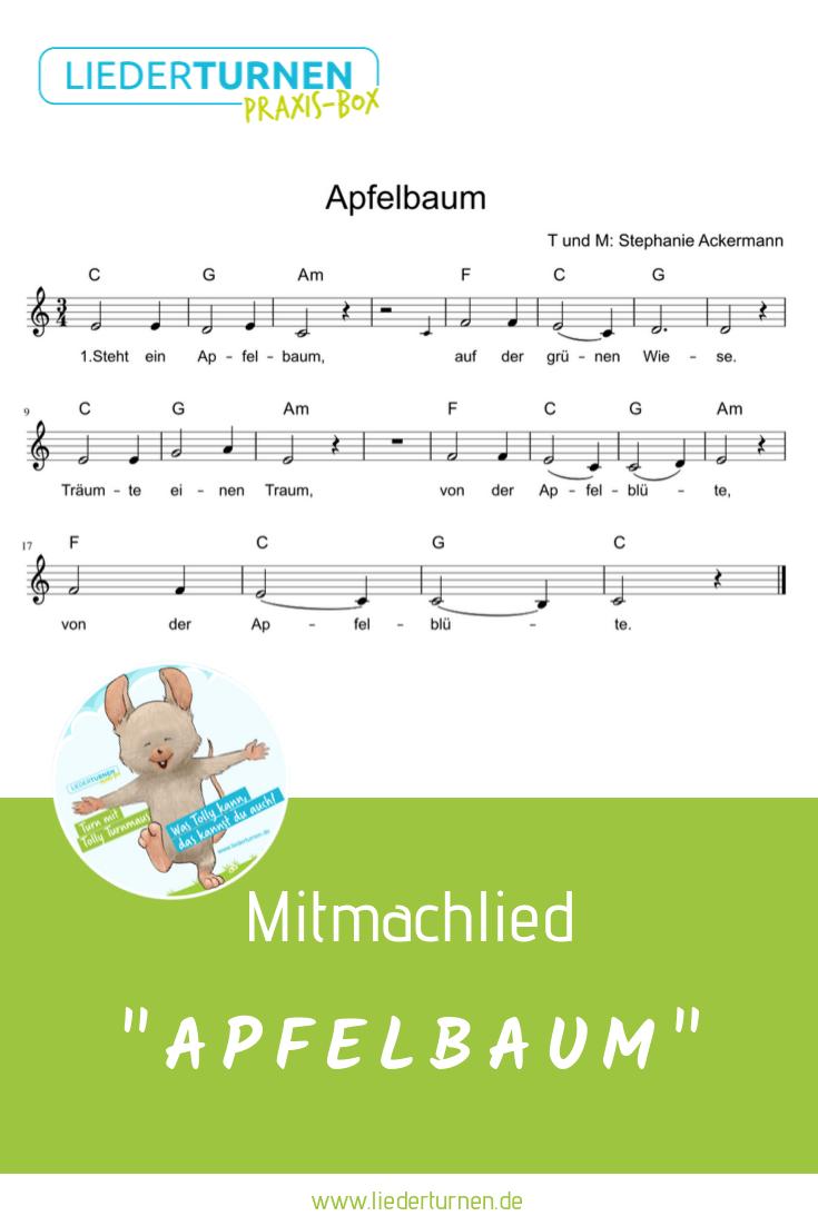 """Noten für das Kinderlied """"Apfelbaum""""! Ein Mitmachlied für"""