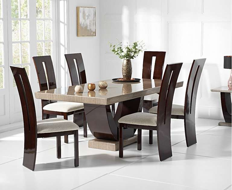 Raphael 170cm Brown Pedestal Marble Dining Table With Verbier