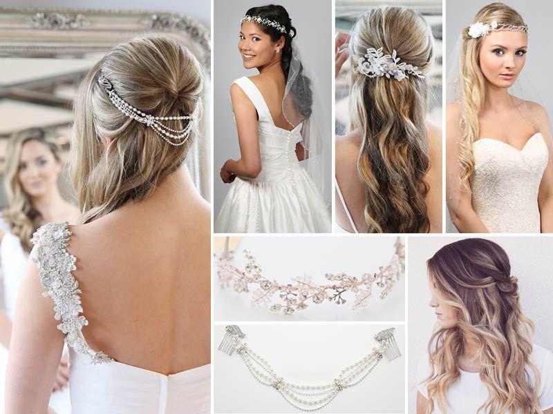 Half Up, Half Down Hair Styles For Bridal Hair Vines