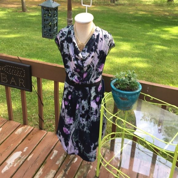 """NWT VERA WANG. Folded/cowl neck. Cap sleeve. 29"""" from shoulder to hem. Waist: 20"""" flat across front stretches to 24"""". 23"""" from armpit to armpit, so flatters a larger chest. Colors are lavender, lilac teal, navy and forest green. Pull on style. No lining. Vera Wang Dresses"""