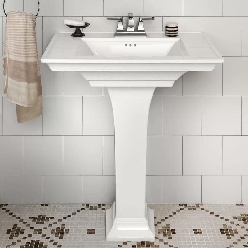 Town White Ceramic Rectangular Pedestal Bathroom Sink With Overflow Pedestal Sink Bathroom Modern Pedestal Sink Wall Mounted Bathroom Sinks