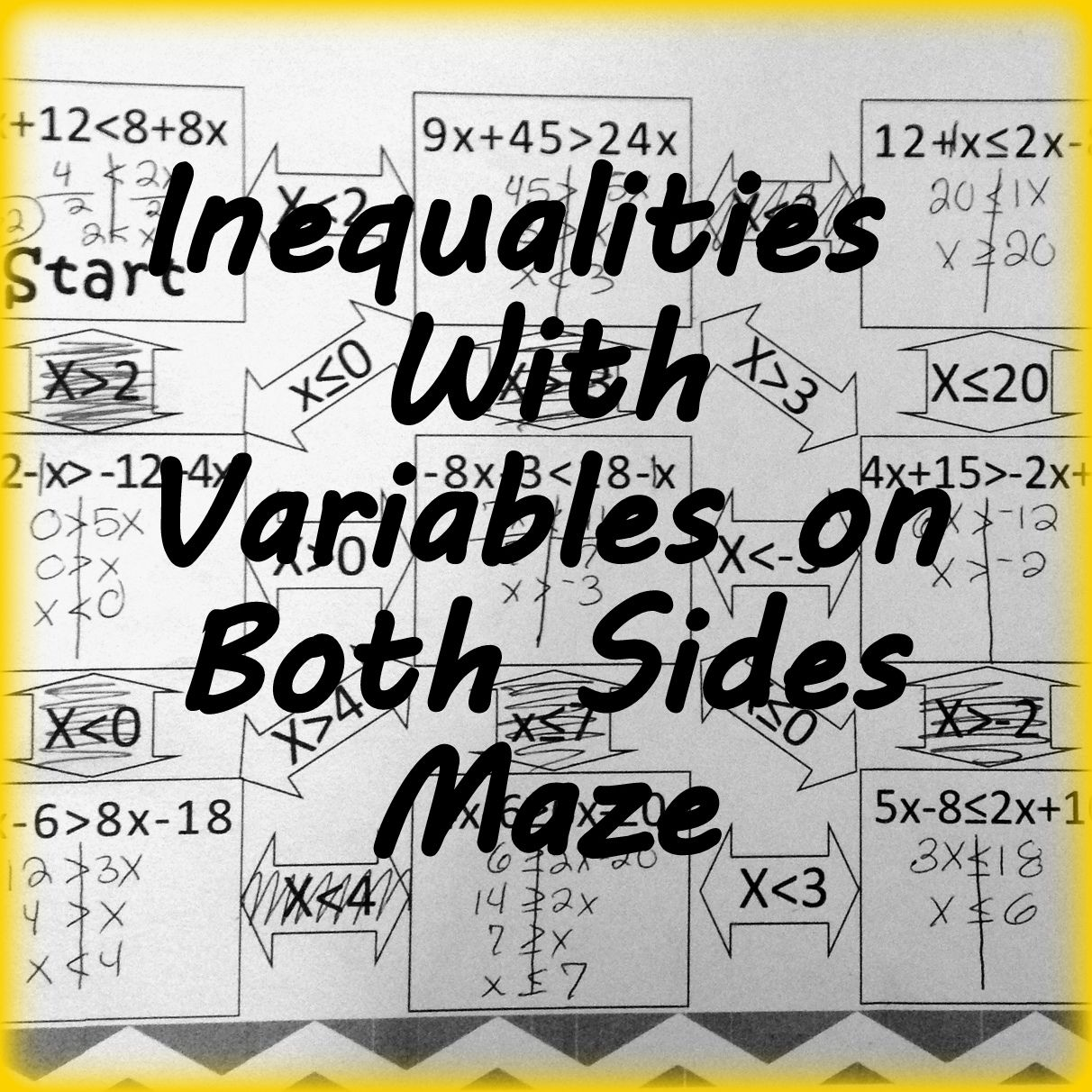 Inequalities with Variables on Both Sides Maze | Algebra 1 ...