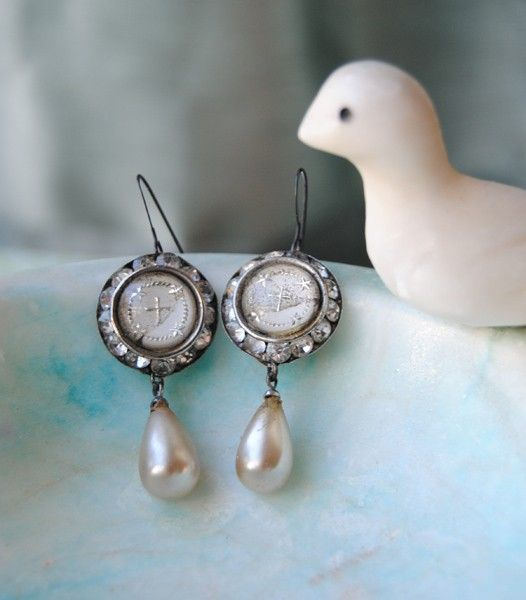 Glass Cross and Pearl Briolette Earrings by ChristineWallace