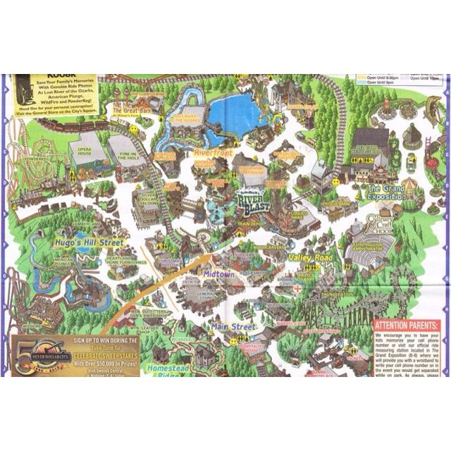 Silver Dollar City Map Silver Dollar City Branson Vacation Theme Park Map