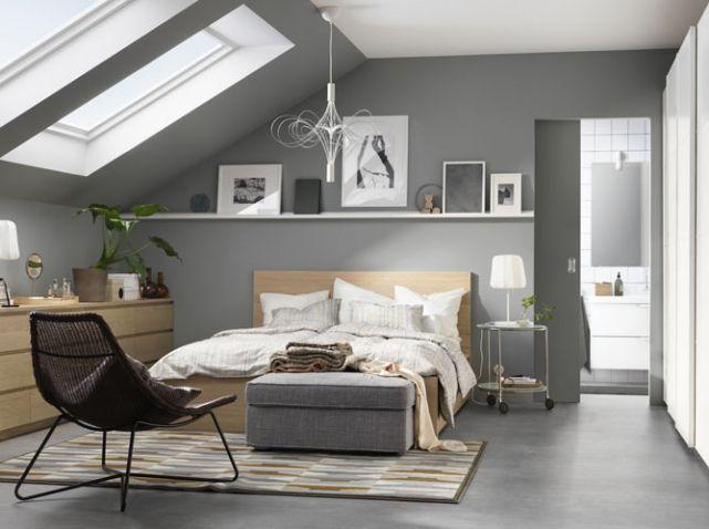 35 Chambres Sous Les Combles Elle Decoration Idees Chambres Deco Chambre Chambre Parentale Grise