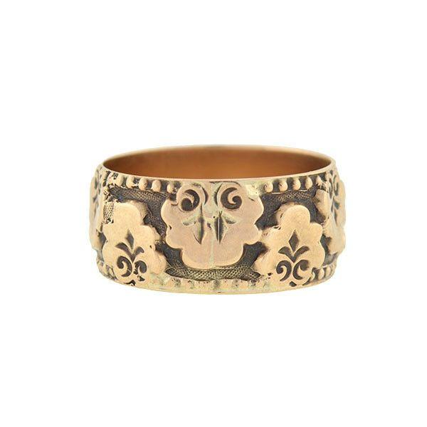 A. Brandt + Son - Victorian 14kt Rose Gold Flower Appliqué Band Ring