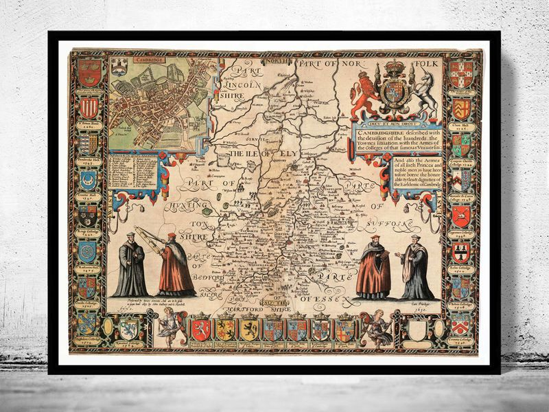 Old Map of Cambridge 1620 United Kingdom OLD CITY MAPS Pinterest