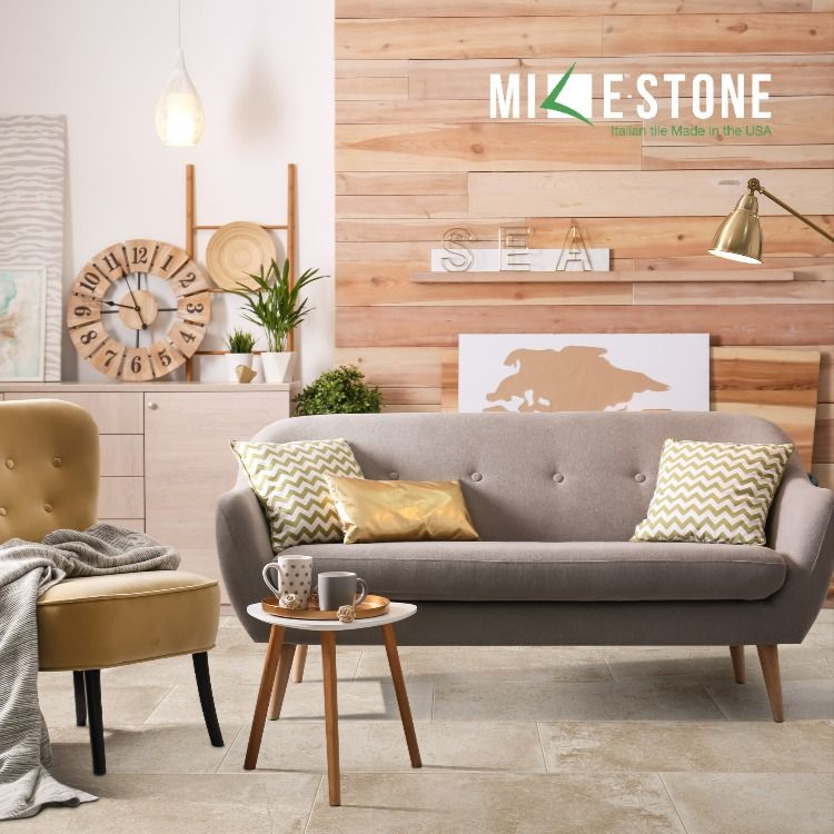 Stone Look Tile In 2020 Living Room Decor Traditional Living Room And Dining Room Design Living Room Photos #rustic #traditional #living #room