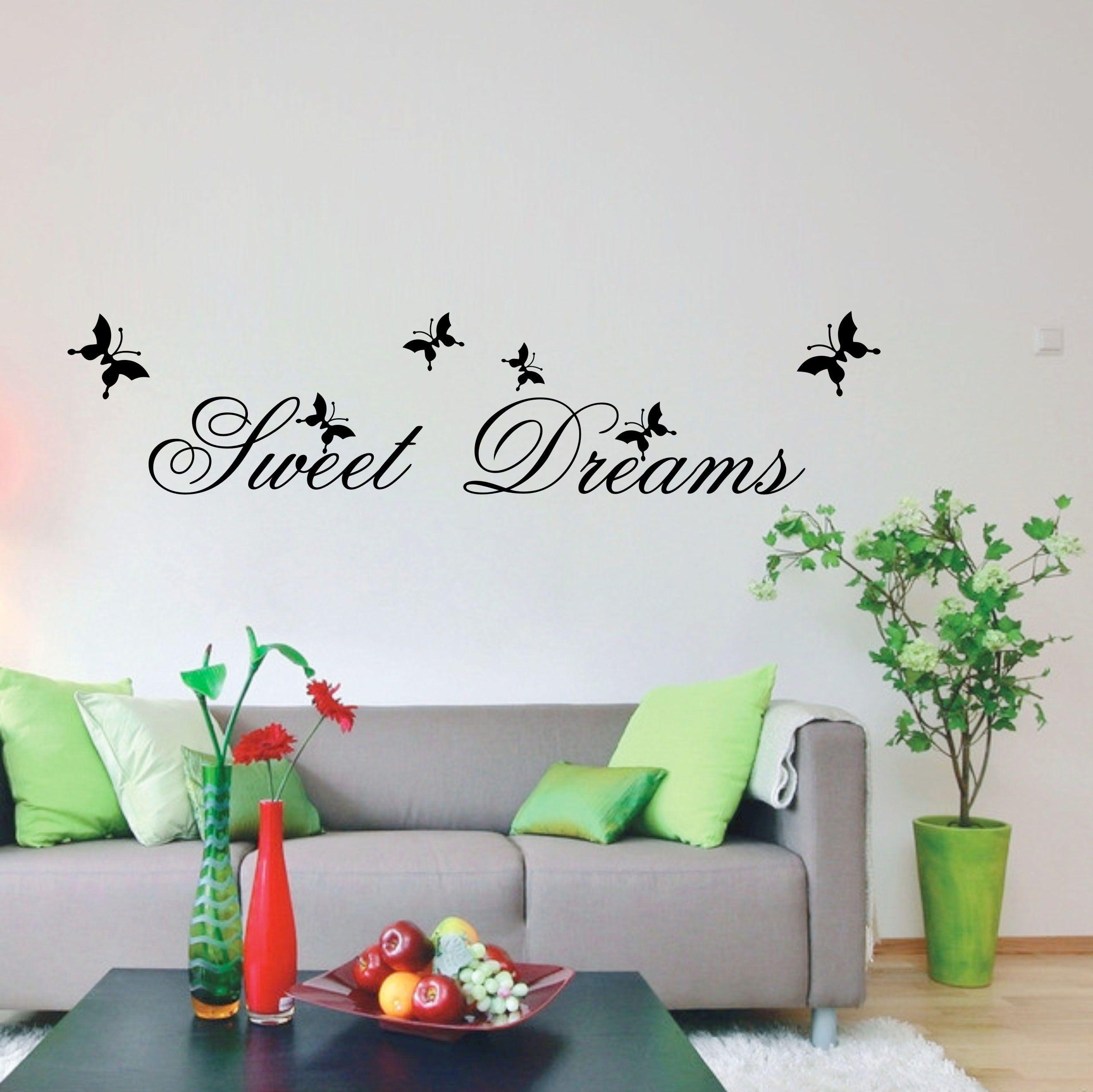 Dulces Suenos Es El Titulo De Este Vinilo Decorativo Ideal Para Colocar Sobre El Cabecero Del Dormitorio Wall Quotes Decals Home Decor Butterfly Wall