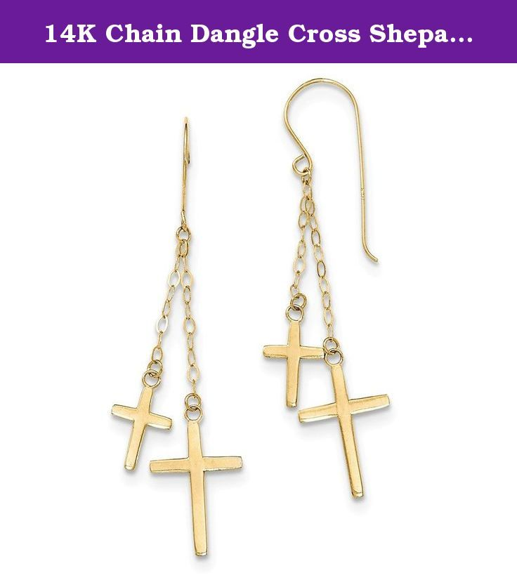 14K Chain Dangle Cross Shepard Hook Earrings. Material: Primary - Purity:14K Length of Item:56 mm Material: Primary:Gold Width of Item:12 mm Product Type:Jewelry Jewelry Type:Earrings Material: Primary - Color:Yellow Earring Closure:French Wire Earring Type:Themed .