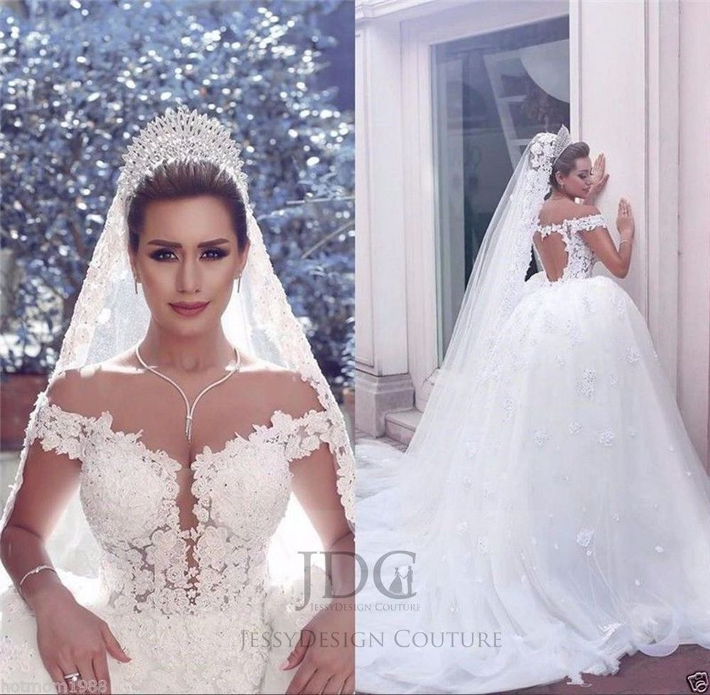 Luxury lace ball gown bridal dress offshoulder duchess open back