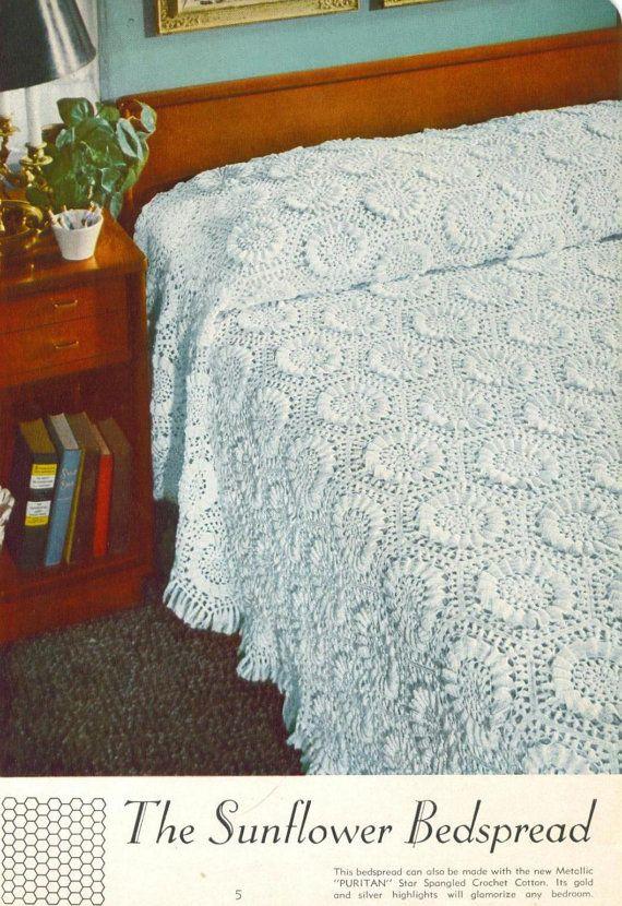 Sunflower Bedspread Crochet Pattern Van Yarnoverpatterns Op Etsy