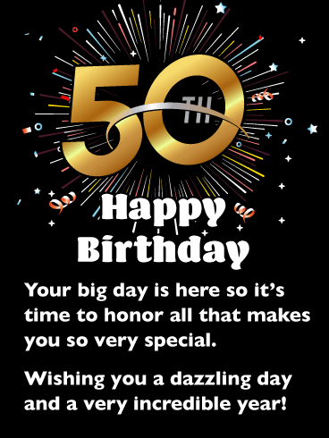 A Dazzling Day Happy 50th Birthday Card Birthday Greeting Cards By Davia 50th Birthday Quotes Funny 50th Birthday Quotes Happy 50th Birthday