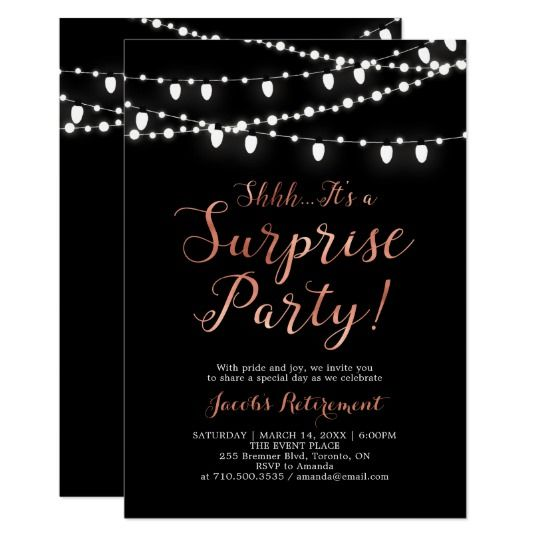 modern copper black surprise retirement party invitation bara