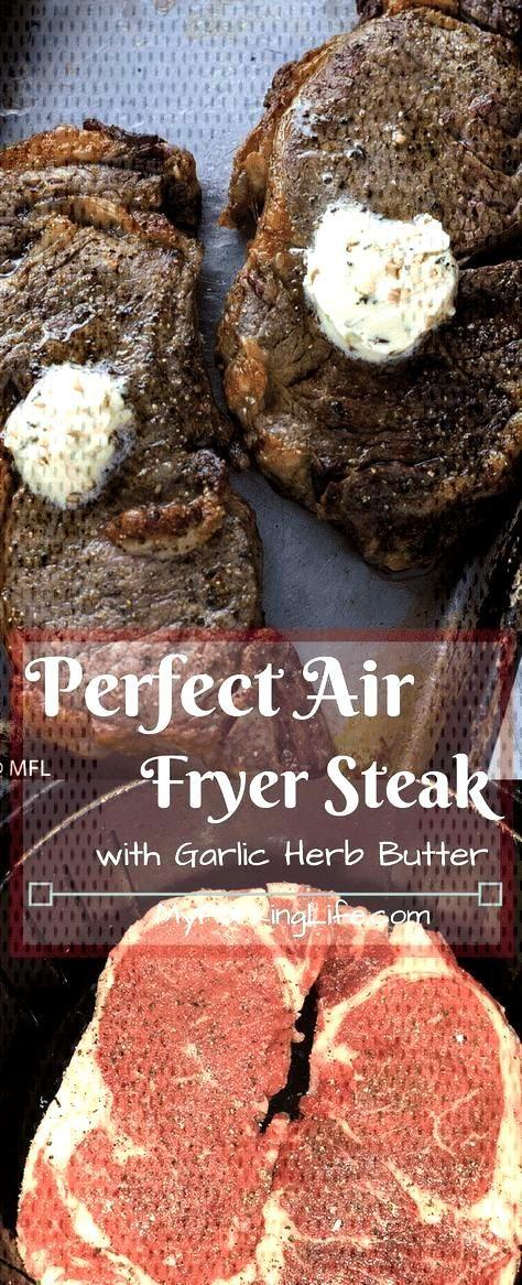 Perfect Air Fryer Steak with Garlic Herb Butter - Perfect Air Fryer Steak with Garlic Herb Butter.