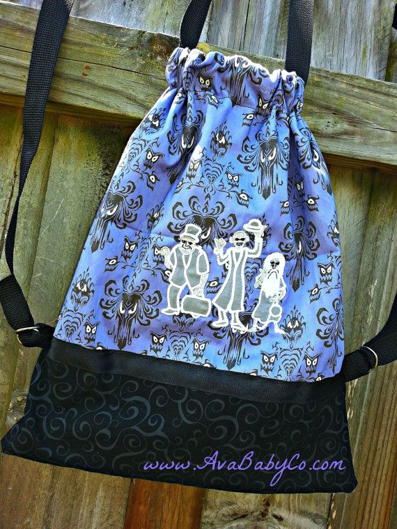 0da1e1f28f5 Personalized Haunted Mansion Hitchhiking Ghosts Inspired Drawstring Backpack  Purse