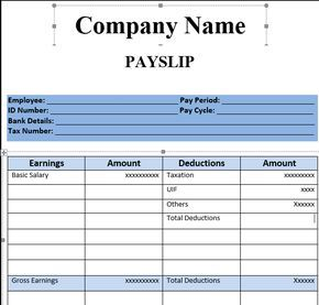 Payslip Template Format In Excel And Word   Microsoft ...