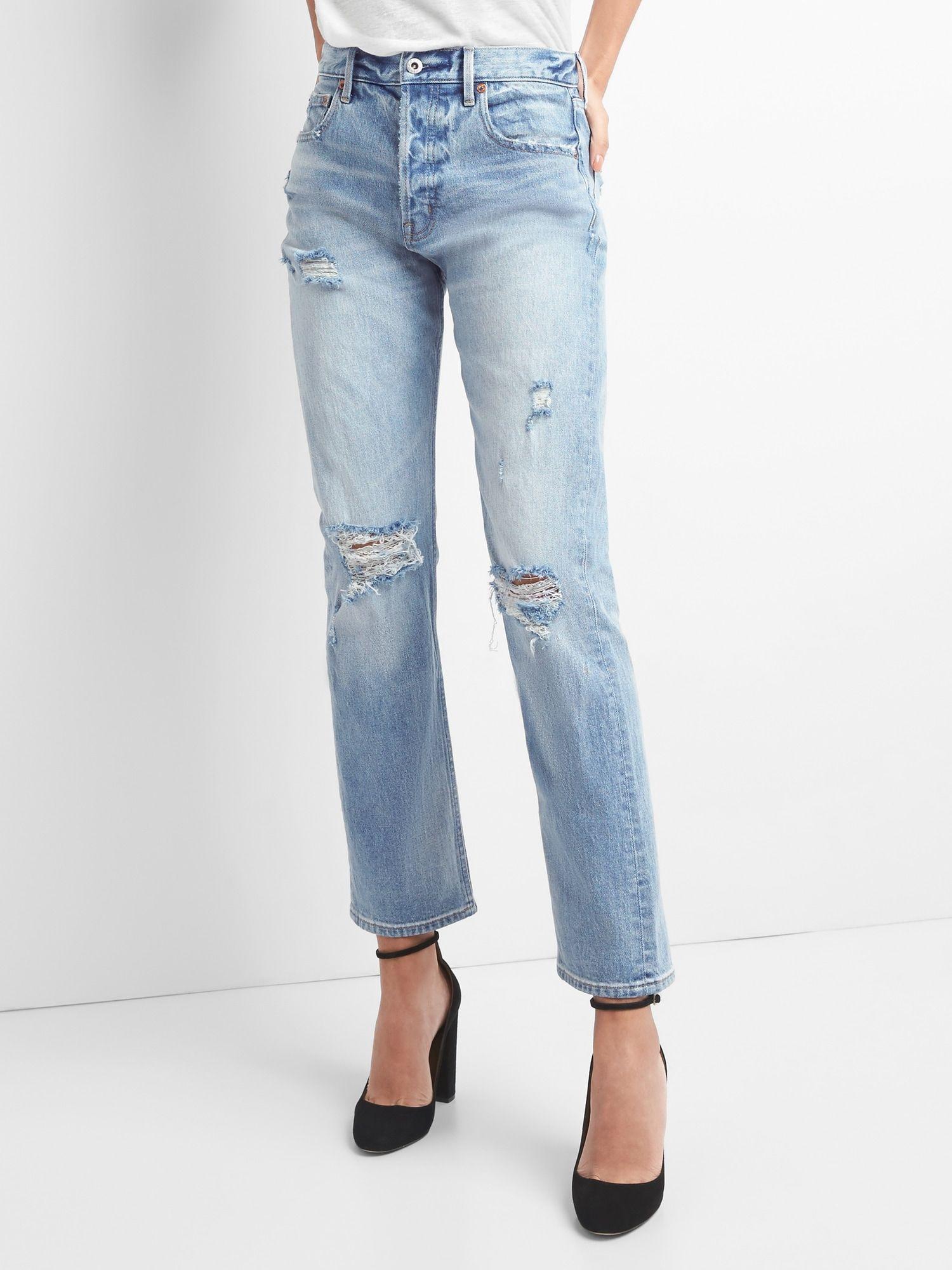 1fb367b1fa Cone Denim® Super High Rise Straight Jeans with Destruction|gap ...