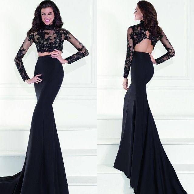 Two Pieces Prom Dresses Black 2016 Lace Appliques High Neck Long ...
