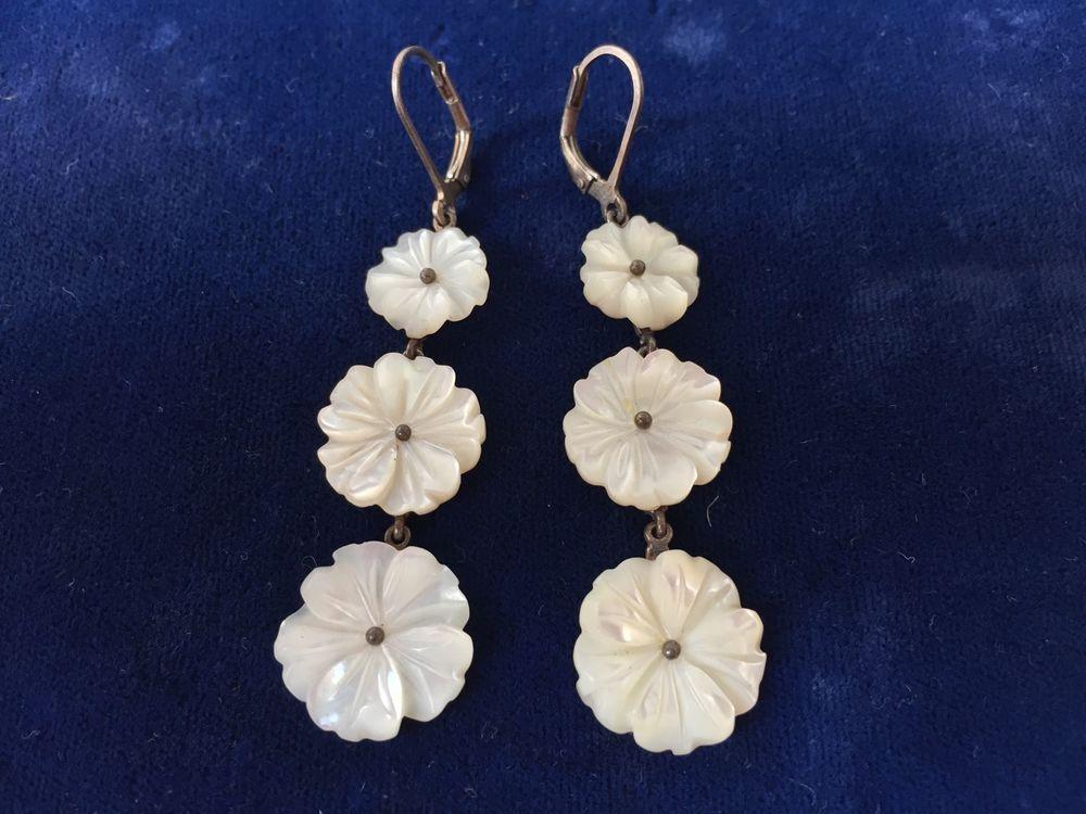 Vintage Sterling Silver Pearl Floral Earrings MOP Shell Dangle Drop Flowers #DropDangle