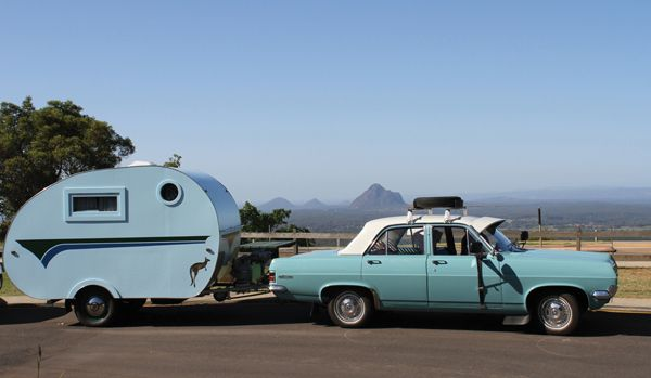 blue retro car and trailer from vintage caravan style book can anyone tell me what kind of car. Black Bedroom Furniture Sets. Home Design Ideas