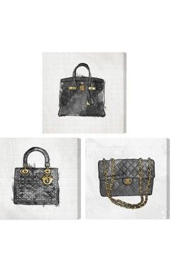 My Handbag Collection Canvas Wall Art - Set of 3