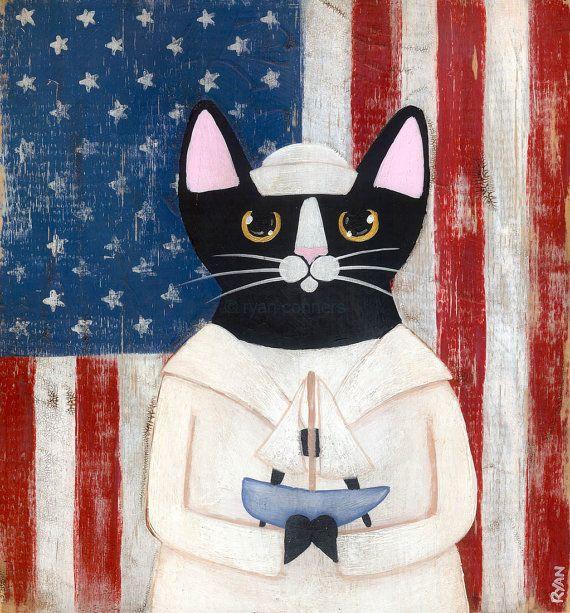 The Sailor Cat Original Folk Art Painting