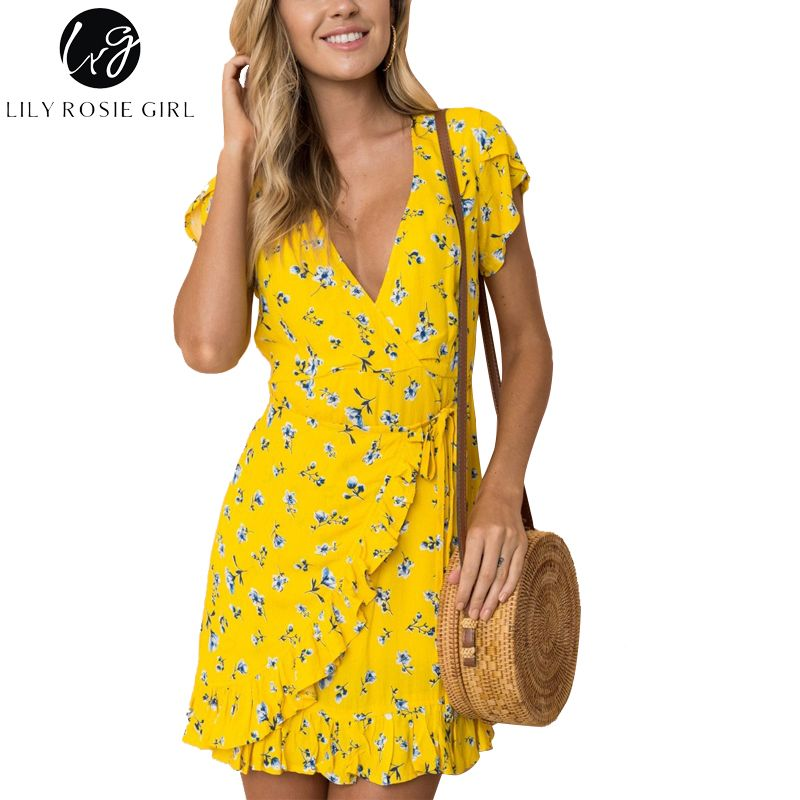 bf081b5fd22 Lily Rosie Girl Sexy Wrap V Neck Floral Print Yellow Women Mini Dresses  2018 Summer Party