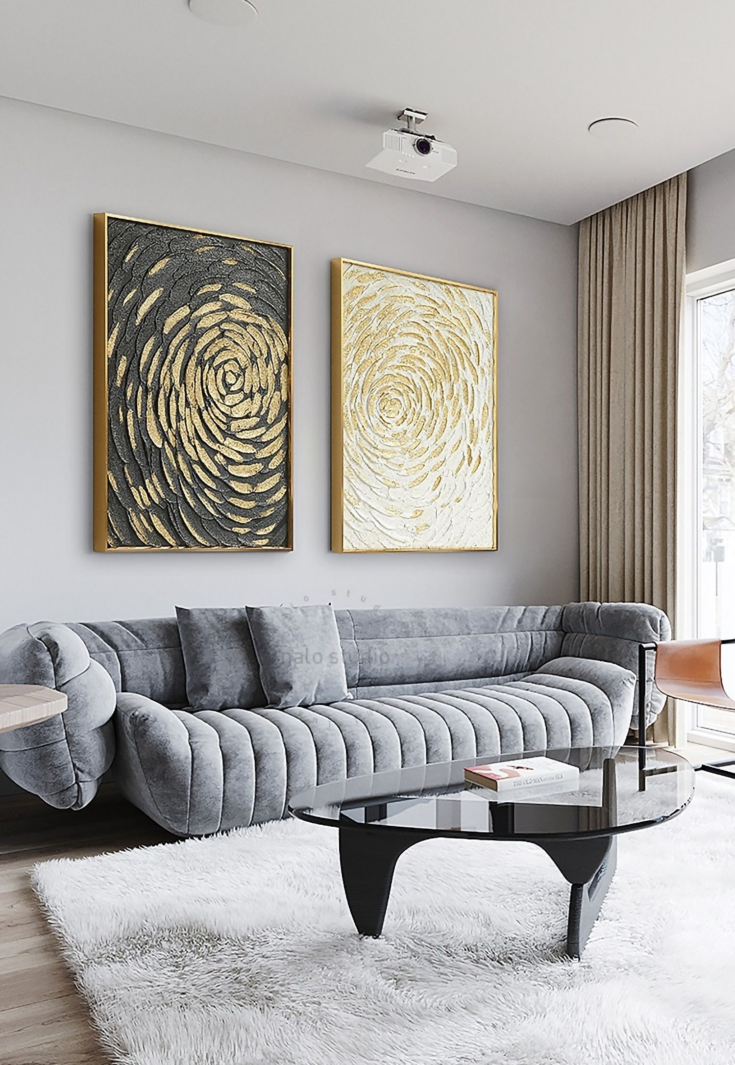 Gold Leaf And Silver Painting Set Of 2 Wall Art Pintura De Lienzo Pintura Abstracta Lienzos #painting #pictures #for #living #room