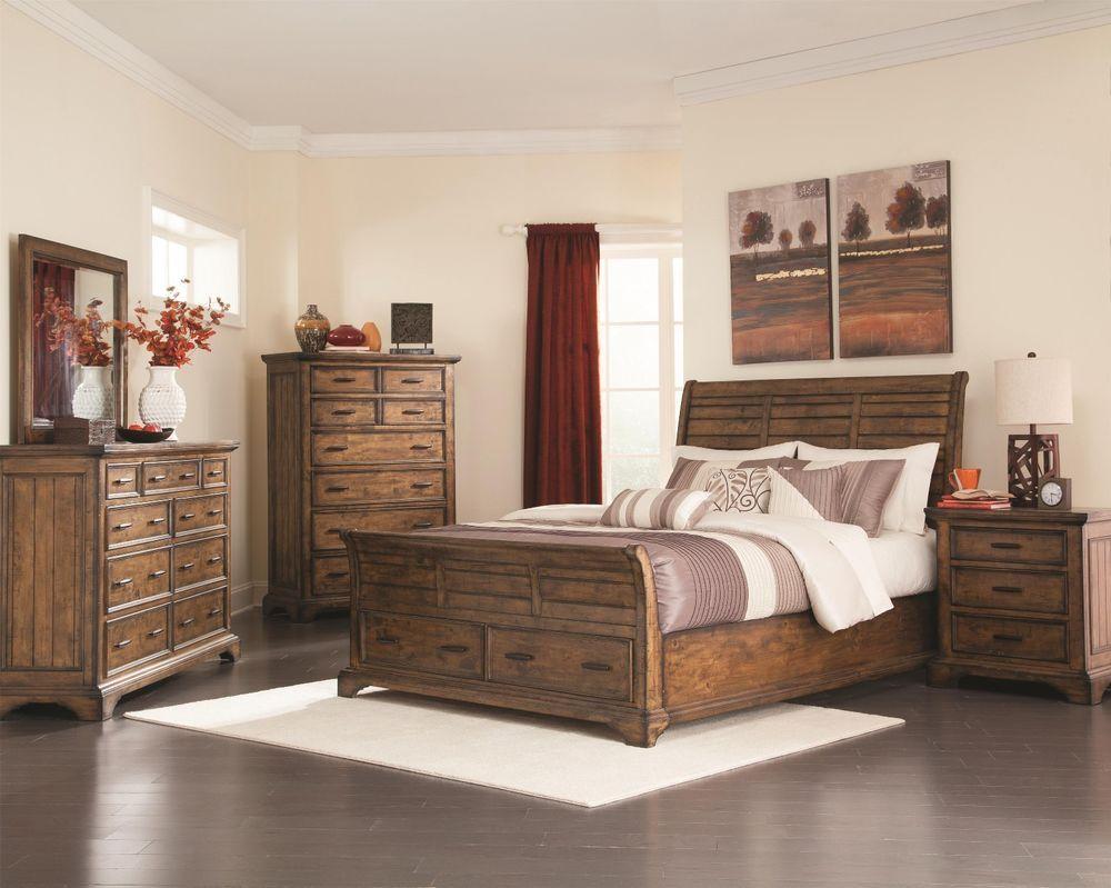 Bourbon Finish Bedroom Set of Queen King Size Bed Dresser Mirror ...