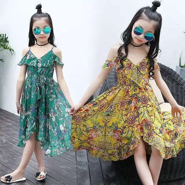 9b729a8130d6 Vestidos para niñas verano 2018 nuevo vestido de chifón de playa con  estampado de flores para niñas vestido bohemio ropa de niños Vestidos  grandes para ...