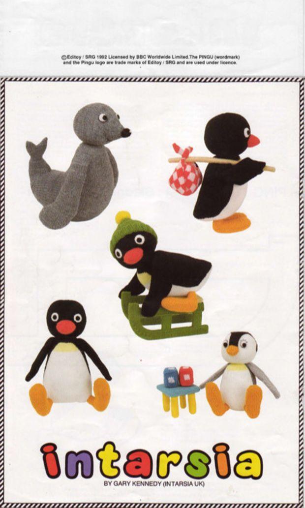 pingu knitting pattern PDF download, intarsia, pingu (with knapsack ...