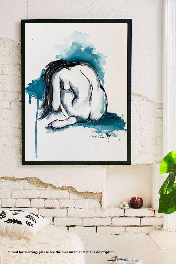 Nudity, Nude Woman, Gift for her, Watercolor art, Female nudity, Figure drawing, Bedroom Art, Bathroom Decor, Nude art, Bachelorette gift