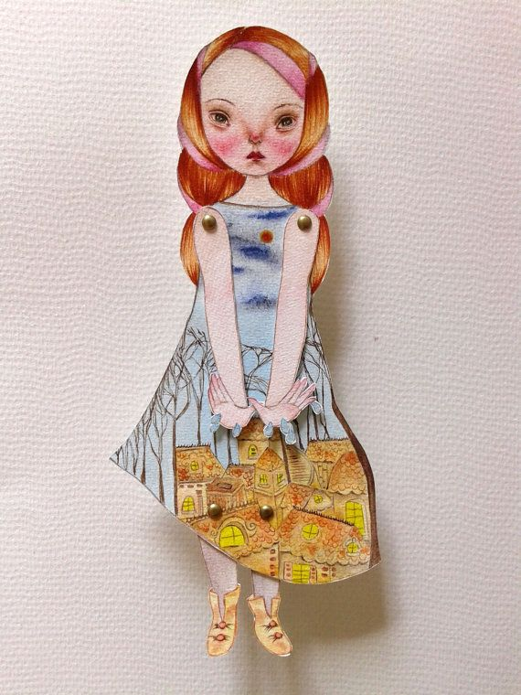 OOAK Original Hand Painted Paper Doll  Droplets by GentlyEthereal, $25.00