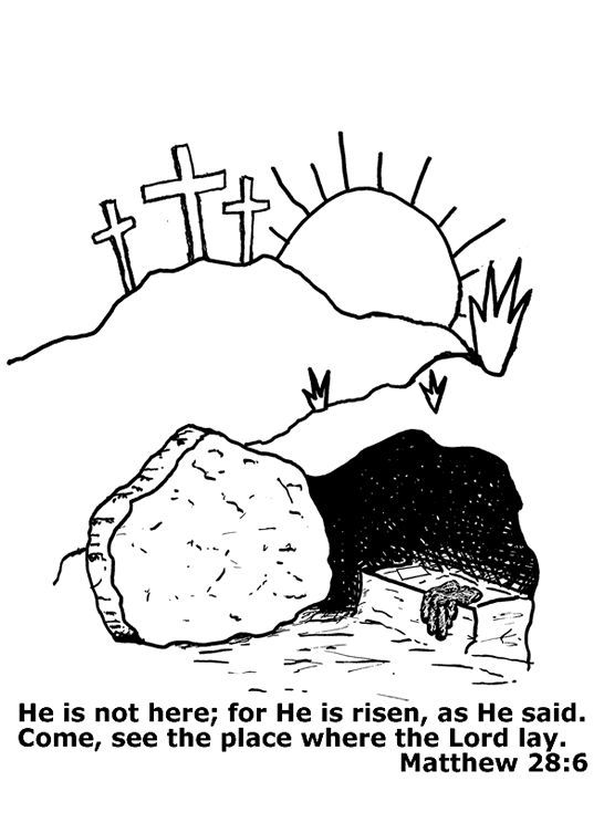 Easter Coloring Page for Children: Picture of the empty tomb of ...