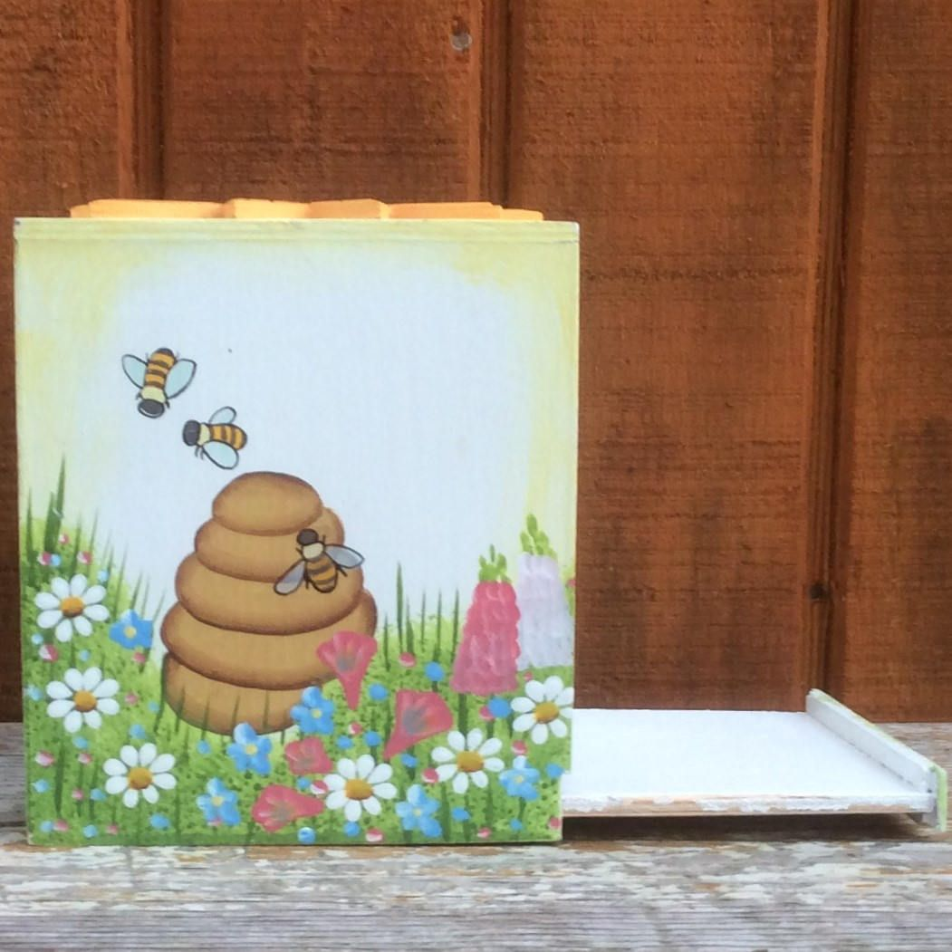Hand Painted Wooden Tissue Box Cover Sun Bees Beehive Butterfly Flowers Daisies Picket Fence Sliding Base Enclo Tissue Box Covers Tissue Boxes Hand Painted