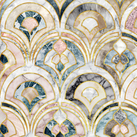 Wallpaper Marble Art Deco Tiles in Soft Pastels Art deco