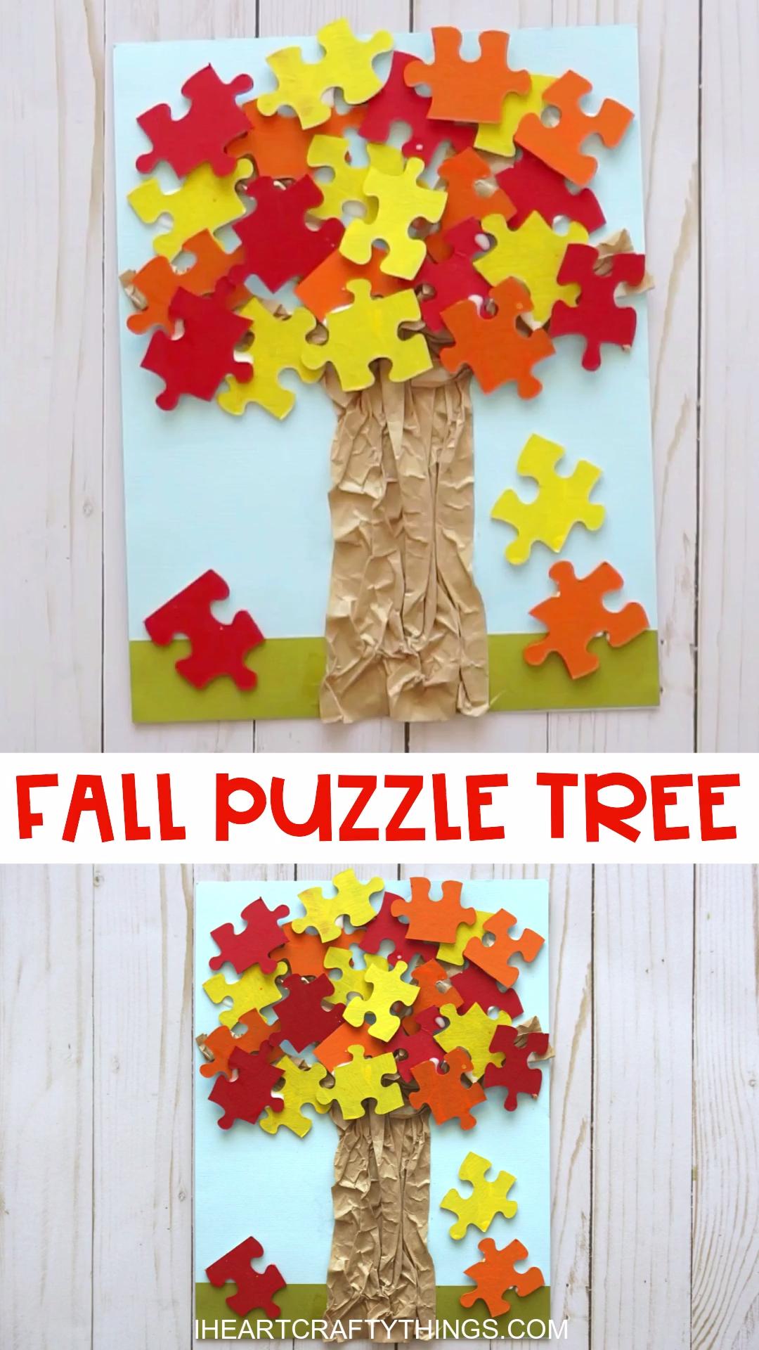 Herbstliche Bastelidee Herbstbaum aus Puzzle #fallcraftsforkidspreschool