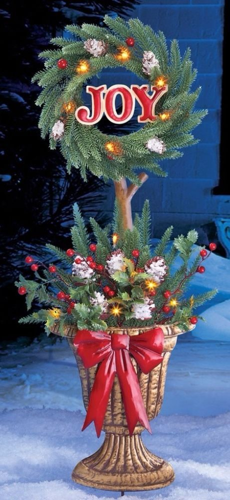 solar powered lighted joy arrangement holiday christmas decor topiary stake topiaryhstake solarpowered christmasdecor - Solar Powered Christmas Wreath