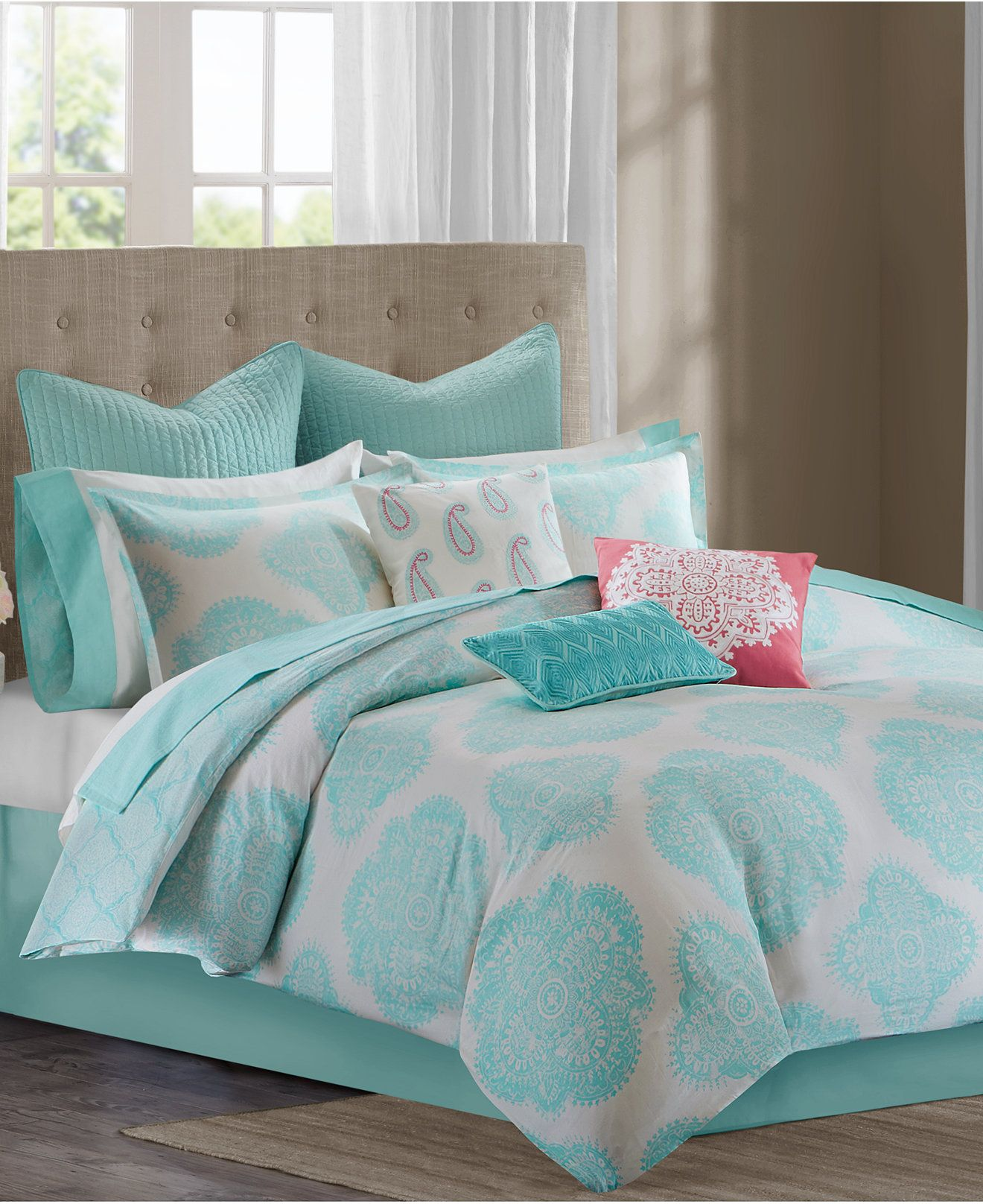 design bdbf over shipping multi mykonos bedding overstock comforter bath cotton orders set on bed free echo product